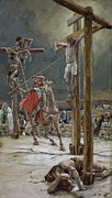Religious Framed Prints - One of the Soldiers with a Spear Pierced His Side Framed Print by Tissot