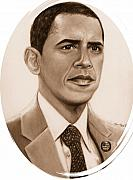 Barack Obama  Framed Prints - One of Unchartered Waters Framed Print by Carliss Mora