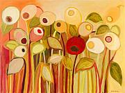 Floral Paintings - One Red Posie by Jennifer Lommers