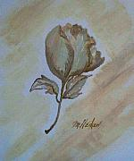 Golds Painting Posters - One Rose Poster by Marsha Heiken