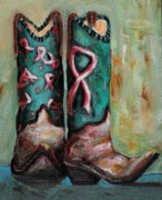 Cowgirl Boots Posters - One Size Fits All Poster by Frances Marino