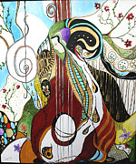 Music Drawings Framed Prints - One String Missing 2 Framed Print by Lucia K Wolfer