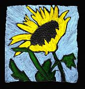 Sunflower Paintings - One Sunflower by Wayne Potrafka