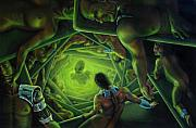 Sci-fi Painting Framed Prints - One Terrible Night Framed Print by Pat Lewis
