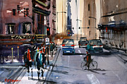 Streetscape Painting Originals - One Way Street - Chicago by Ryan Radke