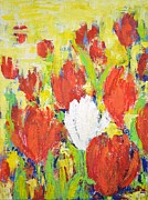 Sicily Mixed Media Prints - One White Tulip Print by Kathleen Pio