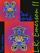 London England  Mixed Media - One Work Two Views 2009 Collectors Poster by Topsy Turvy Upside Down Masg Artist L R Emerson II by L R Emerson II