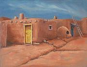 Taos Painting Posters - One Yellow Door Poster by Jerry McElroy