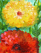 Dream Scape Prints - One Yellow One Red and Orange Flower Shines Print by Ashleigh Dyan Moore