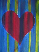 Abstract Heart Paintings - OneHeart  by Lindie Racz