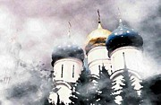 Russian Orthodox Posters - Onion Domes in the Mist Poster by Sarah Loft