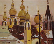 Churches Painting Originals - Onion Domes by Julie Todd-Cundiff
