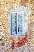 Wall Stone Wall Prints - Onions and garlic on window Print by Silvia Ganora