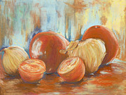 Interior Still Life Painting Metal Prints - Onions and tomatoes Metal Print by AnnaJo Vahle