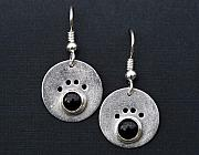 Animals Jewelry - Onyx Dog Paw Earrings by Heather  Hamilton