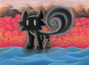 Fox Pastels Prints - Onyx The Fox Print by Jason Oshman