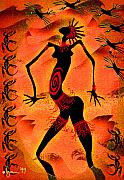Shamanic Prints - OOOOOOh the FIRE in Me Print by Angela Treat Lyon