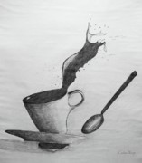 Spoon Drawings Prints - Oops Print by Dodie Ulery