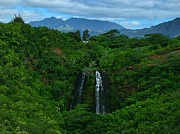 Island Photos Posters - Opaekaa Falls Kauai Hawaii Poster by Ken Smith