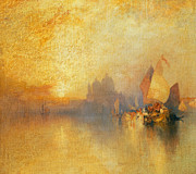 Boats On Water Photo Posters - Opalescent Venice Poster by Thomas Moran