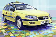 Transport Mixed Media - Opel Omega A Caravan Prague Taxi by Yuriy  Shevchuk