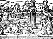 In The Bath Art - Open-air Bath, Balneology, 1571 by Science Source