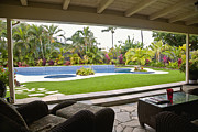 Landscaped Prints - Open Air Luxury Patio Print by Inti St. Clair