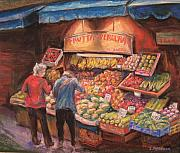 Italian Shopping Painting Posters - Open air Market  Bologna Poster by Sam Pearson