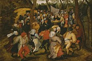 Marriage; Feast; Merry; Merriment; Costume; Tree; Trees; Dancing; Music; Playing; Codpiece; Lover; Lovers; Embracing Framed Prints - Open air wedding dance Framed Print by Pieter the Younger Brueghel