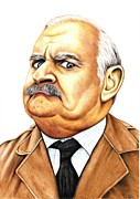 Bbc Drawings Prints - Open all hours - Ronnie Barker plays Arkwright Print by Margaret Sanderson
