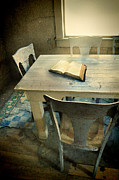 Decaying Prints - Open Book on Old Table Print by Jill Battaglia
