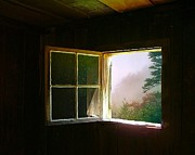 Log Cabin Art Framed Prints - Open Cabin Window in Spring Framed Print by Julie Dant