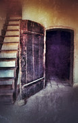 Wooden Stairs Posters - Open Door by Staircase Poster by Jill Battaglia