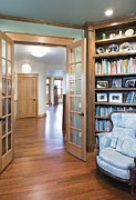 Wood Floors Posters - Open French Doors and Home Library Poster by Andersen Ross