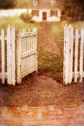 Charming Cottage Posters - Open Gate to Cottage Poster by Jill Battaglia