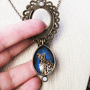Cat Jewelry - Open Metal Locket Necklace With Hand Painted Leopard  by Carrie Jackson