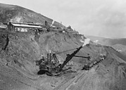 Railroads Photo Metal Prints - Open Pit United Verde Mine On Mountain Metal Print by Everett