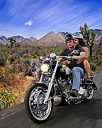 Harley Davidson Paintings - Open Road by David Wagner