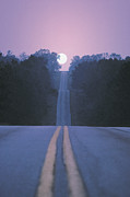 Yellow Line Prints - Open Road With Moon Rising Print by Comstock