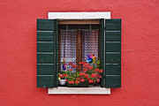 Apartment Framed Prints - Open Shuttered Window in Red Wall Framed Print by Jeremy Woodhouse