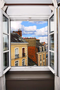 Country Houses Framed Prints - Open window Framed Print by Elena Elisseeva