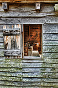 Vintage Log House Prints - Open Window in Pioneer Home Print by Jill Battaglia