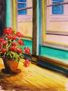 Red Geraniums Prints - Open Window Print by John  Williams