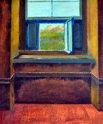 Blue Flowers Paintings - Open Window by Michelle Calkins