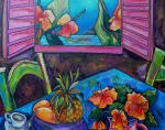Tropical Painting Originals - Open Window by Patti Schermerhorn
