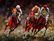 Kentucky Derby Painting Metal Prints - Opening Day Metal Print by Debra Hurd