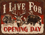 Antlers Metal Prints - Opening day Sign Metal Print by JQ Licensing