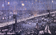 Brooklyn Bridge Painting Posters - Opening of the Great New York and Brooklyn Bridge and grand display of fire works Poster by American School