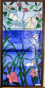 Blue Flowers Glass Art - Opening Window of Beauty by Gladys Espenson