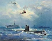 Carrier Painting Posters - Operation Kama Poster by Valentin Alexandrovich Pechatin